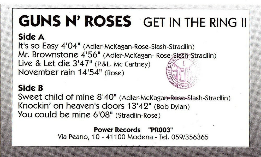 Lyric mr brownstone lyrics : Guns N' Roses Vinyl Bootlegs » Archive for 1992-02-22, Tokyo Dome ...