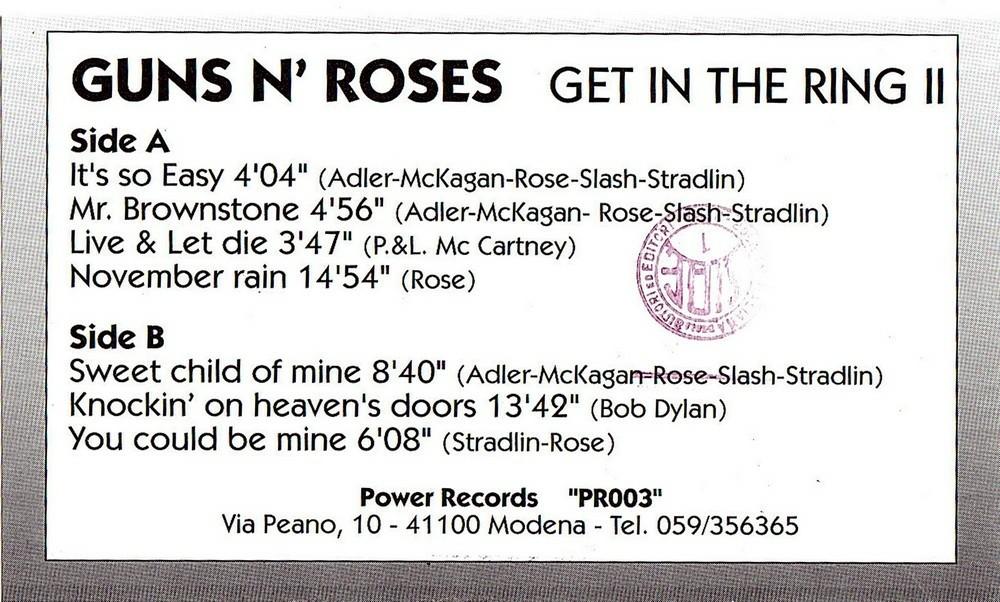 Lyric mr brownstone lyrics : Guns N' Roses Vinyl Bootlegs » Archive for 1992-02-22, Tokyo Dome ...